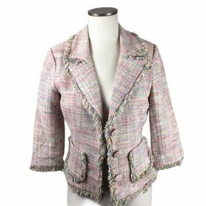 4/$25 Arden B Luxe Tweed Fringe Jacket Pink Lined